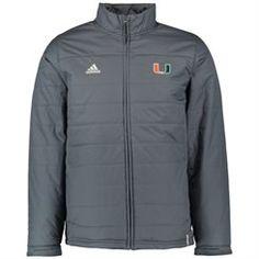Men's adidas Gray Miami Hurricanes Coaches Sideline Full-Zip Jacket