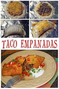Taco Empanadas from Amanda's Cookin' - recipe looks easy. Empanadas are made using refrigerated biscuits and are baked, not fried. Mexican Dishes, Mexican Food Recipes, New Recipes, Favorite Recipes, Drink Recipes, I Love Food, Good Food, Yummy Food, Easy Delicious Recipes
