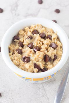 Creamy single serving of chocolate chip oatmeal with chocolate chips in every bite!