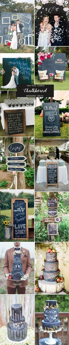 Black and white wedding color ideas - chalkboard wedding theme ideas / http://www.deerpearlflowers.com/rustic-wedding-themes-ideas-part-2/2/