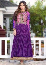 Casual Wear  Georgette Violet Embroidered Work Anarkali Suit
