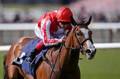 Frankie Dettori riding Daban to victory in the Lanwades Nell Gwyn Stakes at Newmarket in April