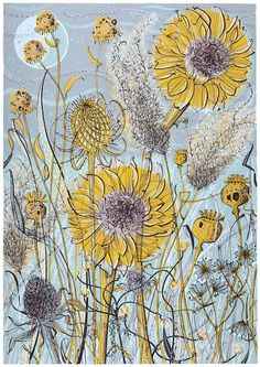 Angie Lewin 'Autumn Garden, Norfolk' limited edition screenprint