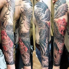 Awesome Mens Phoenix Japanese Full Sleeve Tattoos