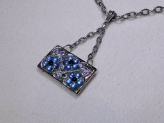 Upcycled Vintage Pendant Necklace Blue Flowers by SadiesSnippets, $26.00