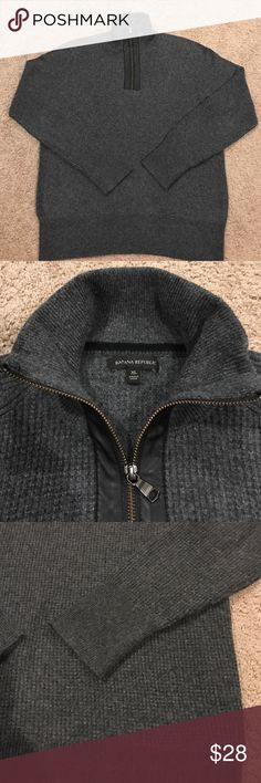 Banana Republic Leather 1/4 Zip Sweater Grey waffle weave sweater with leather trim, 80% merino/20% Nylon yarns. In great condition, worn a couple of times.. pet and smoke free home.  Comment with questions. Banana Republic Sweaters Zip Up