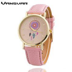 Vansvar Dreamcatcher Women Quartz Watches Reloj Mujer Relogio Feminino Leather Strap Wristwatch Dress Watch Clock 1635