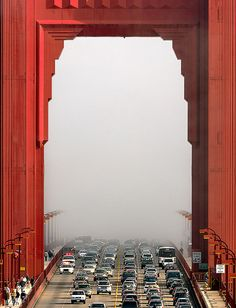 Golden Gate Bridge - San Francisco Fog I remember as a kid coming from the hot weather in Marin into SF fog and feeling the sprinkling of the damp air on my face. Love the fog.