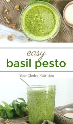 This Easy Basil Pesto is a simple & delicious recipe you can use in a variety of dishes, from topping meats and poultry to stirring into pasta and salads! | recipe via www.yourchoicenutrition.com #yourchoicenutrition #food #recipe #healthyeating #healthylifestyle #dietitian #dietitianapproved #healthyrecipes #mindfuleating #dinner #lunch #intuitiveeating #pesto #basil #sauce #glutenfree #vegetarian