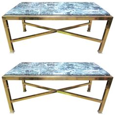 A Pair of Brass Cocktail Tables with Green Marble Tops | From a unique collection of antique and modern coffee and cocktail tables at http://www.1stdibs.com/tables/coffee-tables-cocktail-tables/