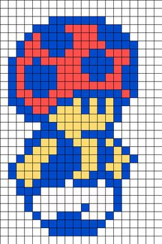 8 Bit Toad Perler Bead Pattern | Bead Sprites | Characters Fuse Bead Patterns