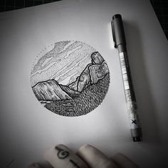 Little dotwork piece of the tunnel view from Yosemite national park, as requested by tomorrows custo - mcallistertattoo