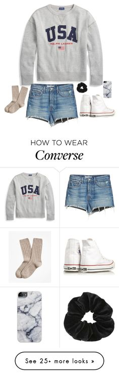 """usa all the way"" by gabyleoni on Polyvore featuring Polo Ralph Lauren, GRLFRND, Converse, Brooks Brothers and Miss Selfridge"