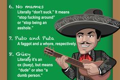 A list of Mexican Spanish swear words and phrases with English translations. Learn how Mexicans curse and share the infographic. Spanish Basics, Spanish Lessons, Learning Spanish, Spanish Memes, Spanish Swear Words, How To Speak Spanish, Mexican Phrases, Mexican Sayings, School