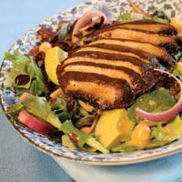 Portobello Salad with Spicy Mustard Dressing. (Fro Veganomican, my favorite cookbook!) For the month of March.
