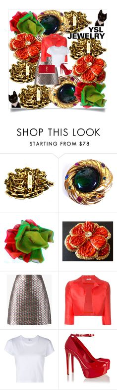 """""""YSL EVERYDAY JEWELRY"""" by francoisefortier ❤ liked on Polyvore featuring Yves Saint Laurent, Miu Miu, P.A.R.O.S.H., RE/DONE, Schutz and vintage"""