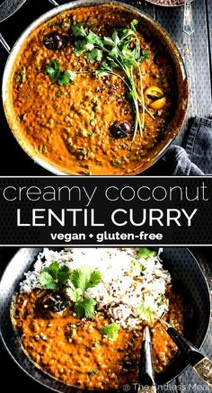 SAVE FOR LATER! This easy to make Creamy Coconut Lentil Curry takes less than an hour to make (mostly hands off time) an Easy Dinner Recipes, Pasta Recipes, Diet Recipes, Chicken Recipes, Vegan Recipes, Easy Meals, Dinner Ideas, Coconut Lentil Curry, Tandoori