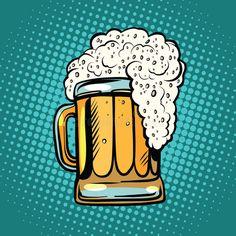 Buy Foamy Mug of Beer Pop Art Retro by studiostoks on GraphicRiver. foamy mug of beer pop art retro vector. Alcoholic drink in a pub. Realistic illustration of beer Pop Art Food, Beer Images, Desenho Pop Art, Beer Art, Hand Drawn Logo, Retro Vector, Retro Pop, Craft Beer, Bubble