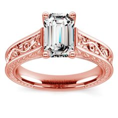Antique Floral Solitaire Engagement Ring in Rose Gold | Emerald