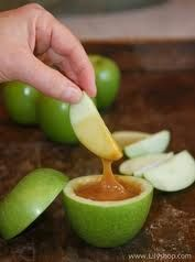 Cool food Idea for party's. How to do it is you cut out the inside and put Carmel in it and enjoy!