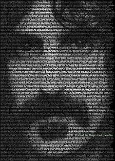 Frank Zappa. Awesome Text Portrait by Ralph Ueltzhoeffer.