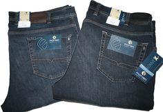 http://www.the-big-gentleman-club.com/pionier-sportive-jeans-shop-peter-robert-marc-jeanshose-bluejeans-stretchjeans-onlineshop-versand-lagerverkauf-herrenausstatter-uebergroesse-xxl/Pionier-Thomas-Jeans-Tiefbund-Gr-30-36-vier-Waschungen.html Pionier 5-Pocket Jeans mit reduzierter Oberschenkelweite in den Waschungen Darkblue-used, Blueblack-used, Blue-used und Bluestone Gr. 30-36 = Inchweite 44-56.