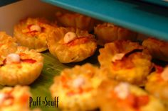 Mini Lobster Quiche topped with blood orange creme fraiche | Puff 'n Stuff Catering | Orlando Container Store VIP Grand Opening