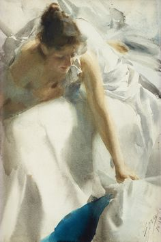 """amare-habeo: """" Anders Zorn (Swedish, 1860-1920) Waking up, 1898 Watercolor on paper """""""