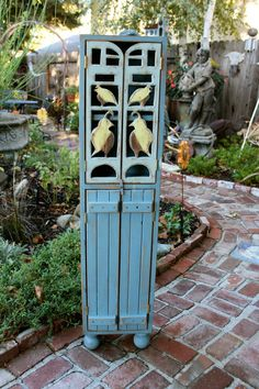 Quail Bird Cabinet - 48 tall x 12 wide x 7 deep with ball feet - Please read entire listing