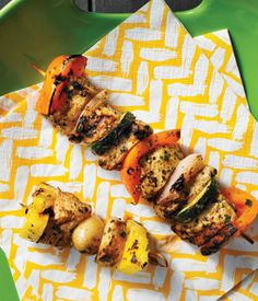 Carribean chicken, vegetable and pineapple skewers