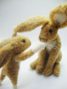 Needle Felted Animal  Scottish Hares  Guess how by madamecraig
