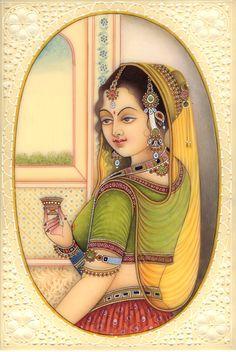 Indian Princess Miniature Painting Handmade Watercolor Lady Portrait Ethnic Art