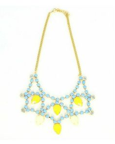 Teardrop Bib Blue & Yellow Necklace - JewelMint