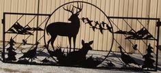 Custom Gate w/ Deer, Turkey, quail, ducks Metal Driveway Gates, Metal Gates, Front Gates, Wrought Iron Gates, Junk Metal Art, Metal Artwork, Farm Entrance, Entrance Gates, Custom Gates