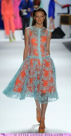 Nanette Lepore Spring 2012 collection I have to find a Pale blue lace dress to replicate this look! Fashion Mode, Look Fashion, Womens Fashion, Fashion Tips, Fashion Design, 80s Fashion, Winter Fashion, Vintage Fashion, Day Dresses
