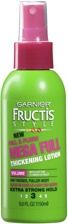 The 14 Best Drugstore Hair-Thickening Products: GIVE FINE STRANDS A LIFT: This sheer and light formula contains cotton flower extract, which coats each strand to add weightless volume to fine hair. Even better: It dries without any sticky residue. Garnier Fructis Full & Plush Mega Full Thickening Lotion, $4.29; Garnierusa.com.