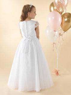 LWCD44 Communion Dress White Communion Dress, Holy Communion Dresses, First Holy Communion, Pleated Bodice, Little White, Holi, Flower Girl Dresses, Wedding Dresses, Pretty