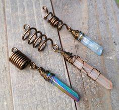 Dreadlock Beads Set of 3 Crystal Loc Beads by HeatherfishCreations