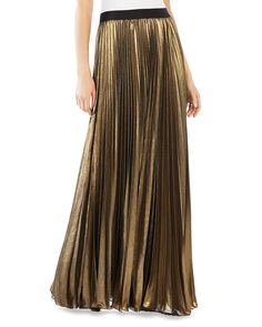 Whether you rock it with flip-flops and a tank by day or a silk cami and heels by night, this trend-right pleated maxi skirt from Bcbgmaxazria has you covered for any occasion in a flash. | Self & lin