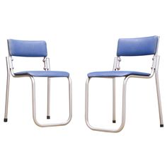 1940s Warren McArthur Duralium Stacking Chairs Pair | From a unique collection of antique and modern side chairs at https://www.1stdibs.com/furniture/seating/side-chairs/