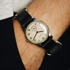 Very rare vintage collectible soviet mechanical men's watch Pobeda 1950 release with leather nato strap Retro Watches, Vintage Watches, Cool Watches, Watches For Men, Wrist Watches, Nato Strap, Vintage Rolex, Beautiful Watches, Mechanical Watch