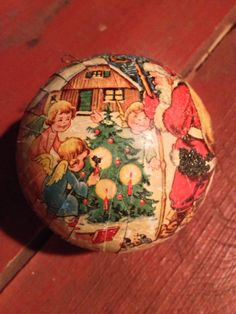 Vintage Paper Mache Christmas Ball Candy Container by Colbyscreek, $13.99
