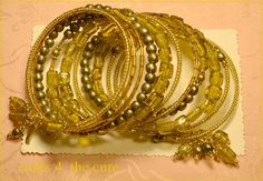Olive Gold Vintage Indian Glass Memory Wire by crafts4thecure