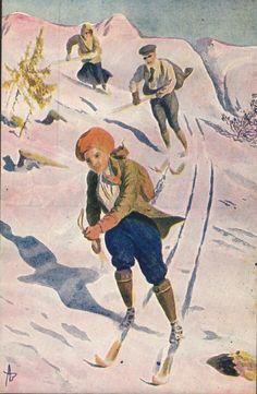 Postkort Kunstnerkort Påskekort Andreas Bloch. Påsketurister på ski. Utg Abel. Stemplet 1915