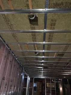 Safe, and Sound Insulation is installed over tracks. This is also a better fire rating for your safety. Basement Bathroom, Bathroom Interior, Interior Paint, Durham Region, Crown Molding, Cellar, Home Renovation, Insulation, Living Spaces