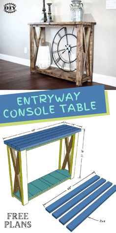 DIY Farmhouse Entryway Console Table. Visit our website for instructions on how to make this simple bench for your dining/kitchen area. #table #diytable #diytutorial #consoletable #farmhouse #entryway #diyinspiration Interior Blogs, Interior Stairs, Interior Trim, Outdoor Projects, Diy Craft Projects, Garden Projects, Project Ideas, Farmhouse Entryway Table, Entryway Console Table