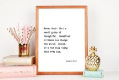Home Decor quote gift Wall Art margaret mead Minimalist Poster feminist