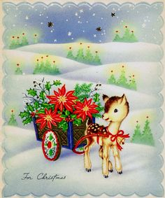 34fa0c77e9 Christmas deer fawn pulling cart of poinsettia  vintage Wallace Brown  Christmas card Vintage Greeting