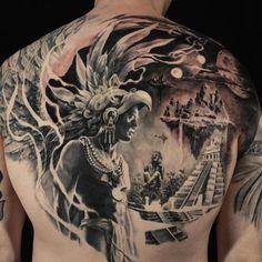 Aztec Tattoo by Carlos Torres Mayan Tattoos, Mexican Art Tattoos, Inca Tattoo, Samoan Tattoo, Polynesian Tattoos, Indian Tattoos, Chicano Art Tattoos, Body Art Tattoos, Tattoo Ink