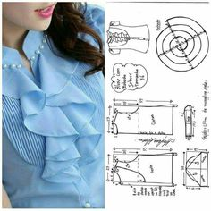 Blue ruffled blouse pattern.